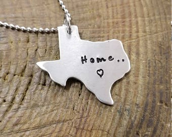 Personalized Jewelry - Hand Stamped Texas State Pendant - Gift for Them