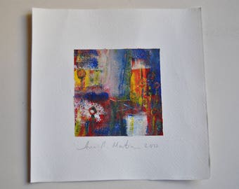 Original abstract acrylic painting. Small series, abstract pictures, in acrylic.