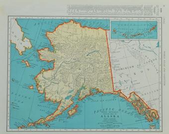 Vintage Alaska Map Etsy - Alaska in us map