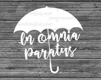 In Omnia Paratus Umbrella decal, Umbrella Decal, In Omnia Paratus, Car decal, Window decal, Laptop Decal, Tablet decal