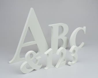 Free Standing Letters Numbers Signs Plastic not Wooden White Initials Home Decor Housewarming Wedding Decoration