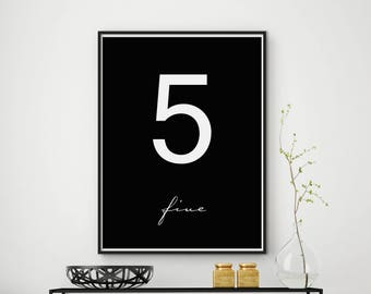 Number 5 print, Number 5 printable, Number 5 wall art, Number 5 art, Number 5 decor, Numeral print, Large Wall Art, Black & White Print