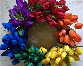 12 inch Gay Pride Wreath, Pride Wreath, Pride Tulip Wreath, Gay Wreath, Rainbow Wreath, Gay Wedding Wreath, Rainbow Wreath, Gay Pride Wreath