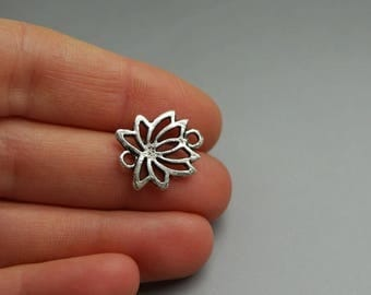 (E23) silver lotus flower connector charm