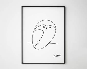 Pablo Picasso Owl Sketch, Owl Sketch, Picasso Printable, Picasso Poster, Minimal design, Minimal art, Black and White print, Modern Poster