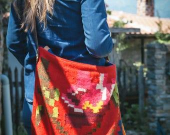 Handmade Crossbody Bag from Vintage Hand-loomed Hellenic Wool Rug