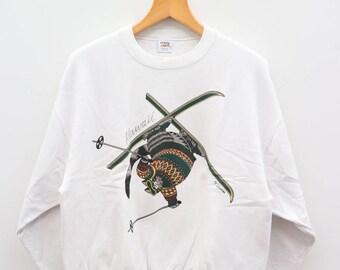 Vintage BKLIBAN Crazy Shirt Hawaii White Sweater Sweatshirt Size M
