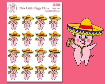 Taco Tuesday Oinkers - Taco Tuesday Planner Stickers - Taco Stickers - Taco Tuesday - Food Stickers - Mexican Food - Tacos- [Food 1-09]