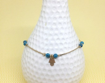 Bracelet with hamsa and turquoise beads