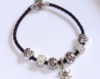 """""""Pandora"""" style black leather bracelet with charms and flower charm"""