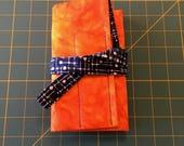 7 pen wrap- Orange and blue batik