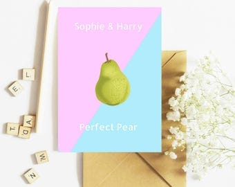 Perfect Pear Engagement Greeting Card   Personalised Names & Message   Congratulations   A5 Card   By Flamingo Lingo (L33)