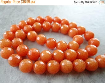 57% Celebration Sale-- Orange adventurine faceted round beads/8mm/14 inches long