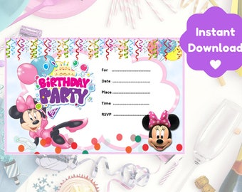 Minnie Mouse Birthday Invitation, Print and Personalise At Home, Instant Download, Invite NOT Editable on Adobe Reader
