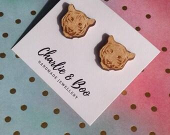 Tiger Studs - Wooden Tiger Earrings - Laser Cut Wood - Laser Cut Tiger - Tiger Head Studs - Animal Studs - Animal Jewellery