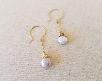 14k Gold Fill Dangle Earrings with Shimmery Pink and Silver Briolettes Bohemian Boho Hippie Gypsy Beachy Trendy Coachella 2017