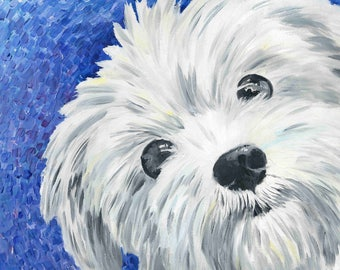 West Highland White Terrier Art Print of Oil Painting - 8 x 8""
