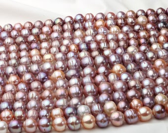 Purple Edison Pearl,100%Fresh water pearl,Mixed Color  Pearl String,pearl necklace.