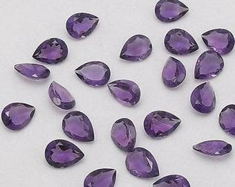 Lot of 10 pcs Natural Amethyst pear cut faceted loose gemstone for women jewelry for sale with free