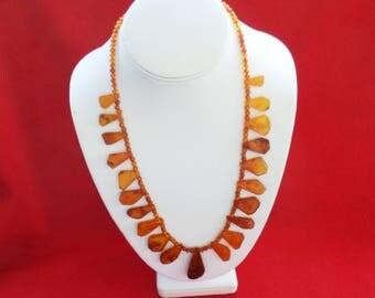 Baltic Amber Squash Blossom Necklace