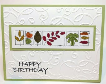 Happy Birthday Card, Handmade Card, Stampin Up Card, Thank You Embossed Card, Greeting Card, Flowers