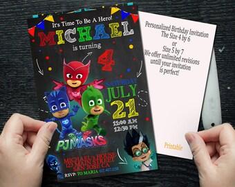 Pj Masks, Pj Masks Invitation, Pj Masks Birthday. Pj Masks Party, Pj Masks Birthday Invitation, Pj Masks Party Invitation,Pj Masks Printable