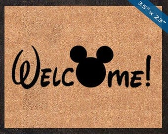 Welcome! Mickey Mouse Silhouette Custom Disney DoorMats, Great for a Wedding, Anniversary, Birthdays, Housewarming, or Graduation Present!