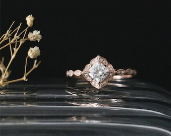 Vintage Floral Halo Ring 5mm Cushion Cut Forever One Moissanite Engagement Ring Stackable 14k Rose Gold Moissanite Ring Art Deco Ring