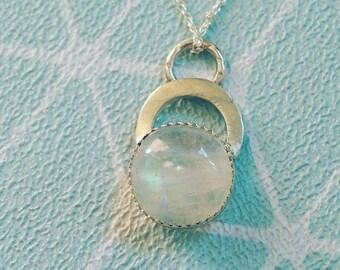 Moonstone silver multi textured pendant