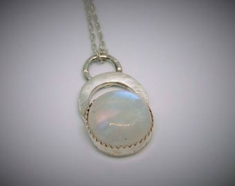 Moonstone silver multi textured pendant