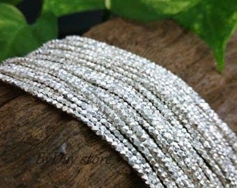 Handmade Silver,1.5mm Tiny Cube Square Faceted Plain Beads,14 inch long,approx:210 pcs.