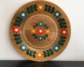 Vintage, Hand painted Wooden Plate, Made In Poland, Folk Art,Wooden Plate, Cottage Garden,Wood,Wall Plate,Polish Art,Home Decor,Alpine Decor