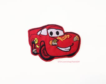 1x CARS Flash McQueen PATCH racing red car Disney Iron On Embroidered Applique kid custom diy cartoon