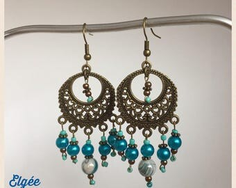 Earrings blue and bronze