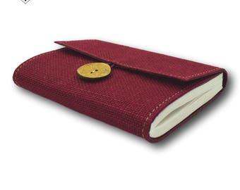 Burgundy Journal - Burlap Jute Cover with Inside Keepsake Pocket by MyPapermake