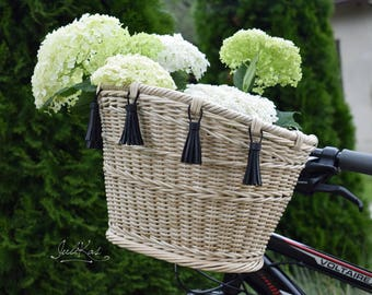 Bicycle basket Bike basket with tassels Bicycle accessories  Boho style Bike bag
