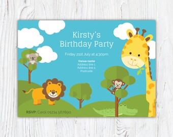 Jungle safari animal theme boy or girl birthday party invitation digital download or print design