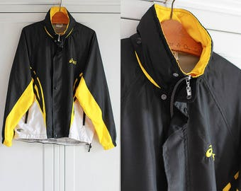 ASICS Windbreaker Vintage 90s Tracksuit Jacket Black Yellow White Loose Oversize Top Oldschool Unisex Men Women / Small