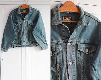 1990s Denim jacket Vintage 90s retro Dark blue/graphite jacket For women and men Unisex Oldschool look / Medium size