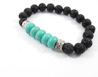 Turquoise and black men bracelet