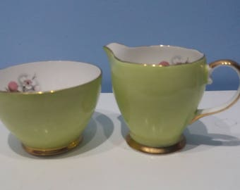 Pretty pistachio green milk jug and sugar bowl set, pastle green vintage creamer, FCE longport argyl English bone china afternoon tea