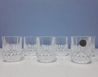 Vintage set of 6 cristal d'Arques shot glasses made in France, retro lead crystal liquor glasses, retro barware