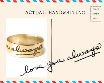 Personalized Handwriting Ring Memorial Signature Ring Handwritten Ring Keepsake Jewellery Name Ring Stacking Ring Christmas Gift Bridesmaids