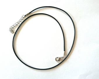 Necklace 47cm black waxed cord