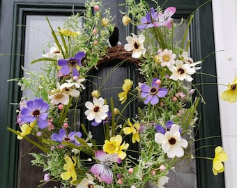 Spring flowers, flower meadow Wreath, spring Wreath, floral Wreath, grasses Wreath, spring decor, front door Wreath, country chic, country