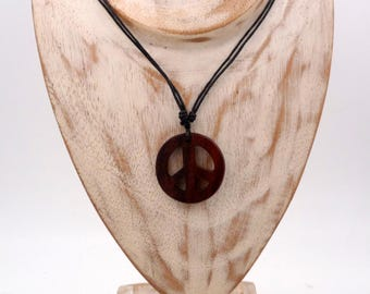 Ethnic necklace Peace and Love wood craft exotic Bali Indonesia