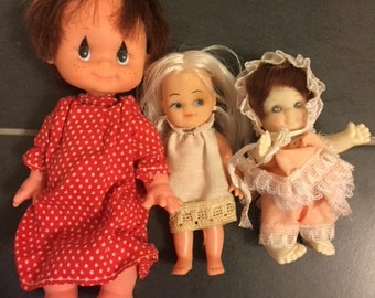 Vintage 1970s Lot of 3 dolls Made in Taiwan