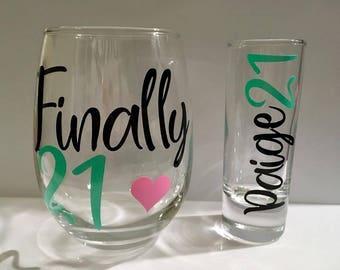 Customized birthday glass set.
