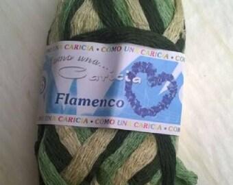 LAINE FROUFROU CARICIA FLAMENCO XXL VERT/KAKI/BEIGE 50 GRAMMES ENVIRON 15 METRES /35