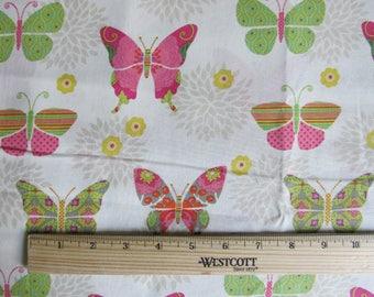 Fabric 1 Yard Bohemian Garden Butterflies Pink Green Yellow Flowers Springs Quilting Cotton